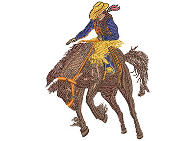 Embroidery Design: Bucking Bronco Med 3.24w X 4.00h