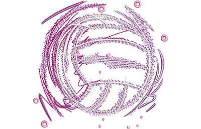 Embroidery Design: Glowing Volleyball Lg 3.64w X 3.48h