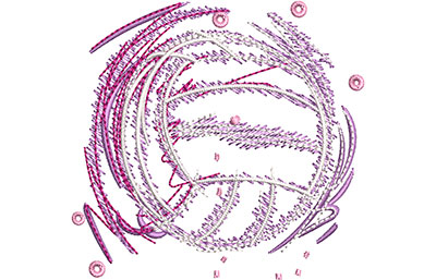 Embroidery Design: Glowing Volleyball Sm 2.65w X 2.52h