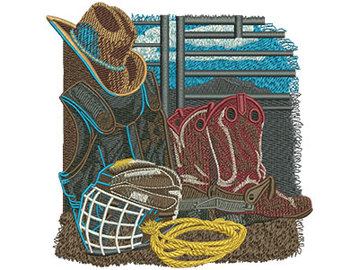 Embroidery Design: Rodeo Equipment Lg 5.48w X 5.55h