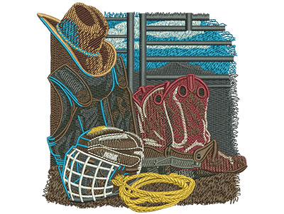Embroidery Design: Rodeo Equipment Med 4.98w X 5.05h