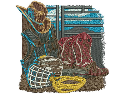 Embroidery Design: Rodeo Equipment Sm 4.49w X 4.55h