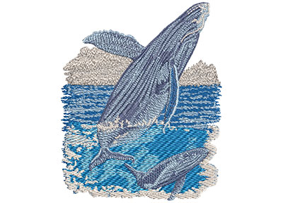 Embroidery Design: Humpback Whale Sm 3.44w X 3.96h