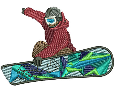 Embroidery Design: Snowboarder Med 3.01w X 2.09h