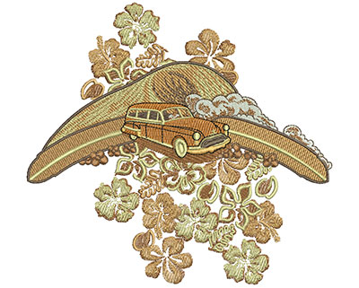 Embroidery Design: Tropical Car and Flowers Lg 6.02w X 5.57h