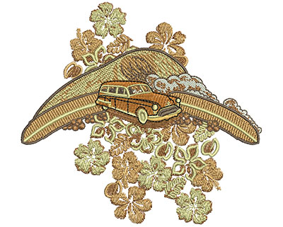 Embroidery Design: Tropical Car and Flowers Sm 4.02w X 3.71h