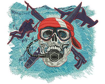 Embroidery Design: Scuba Skull Lg 5.50w X 4.98h