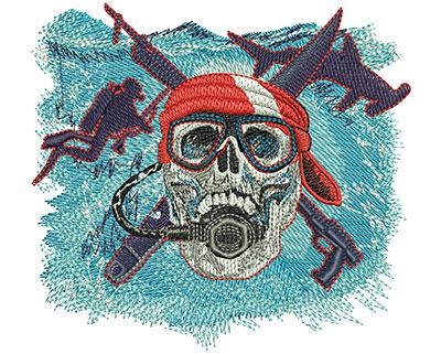 Embroidery Design: Scuba Skull Med 4.50w X 4.11h