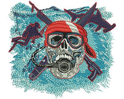 Embroidery Design: Scuba Skull Sm 3.50w X 3.18h