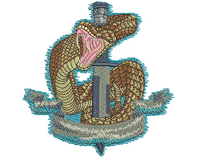 Embroidery Design: Dagger and Snake Sm 3.47w X 3.53h