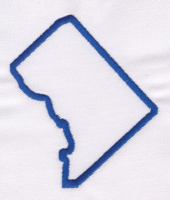 """Embroidery Design: District of Columbia Outline3.33"""" x 2.85"""""""