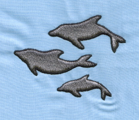 """Embroidery Design: Three Dolphins (large)3.99"""" x 3.10"""""""