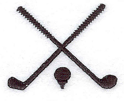 Embroidery Design: Crossed golf clubs and tee 1.87w X 1.50h