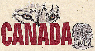 Embroidery Design: Canada with wolf 7.06w X 3.88h