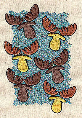 Embroidery Design: Moose heads 2.81w X 3.25h