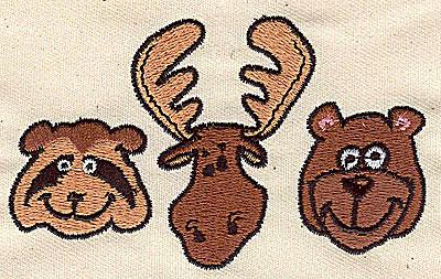 Embroidery Design: Raccoon moose bear 3.81w X 2.25h