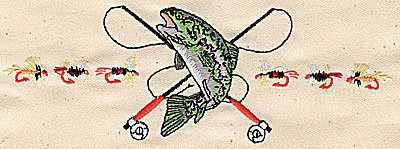 Embroidery Design: Fish with rods and lures 6.44w X 2.48h