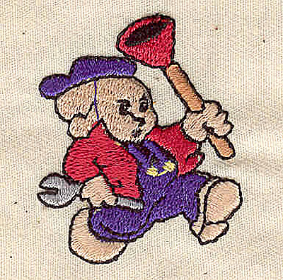 Embroidery Design: Plumber 1.38w X 1.69h