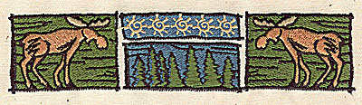 Embroidery Design: Moose with forest scene 5.63w X 1.31h