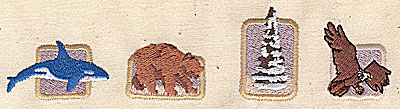 Embroidery Design: Whale bear tree and eagle 5.56w X 1.31h