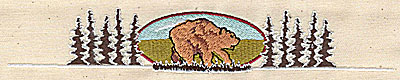 Embroidery Design: Forest scene with bear 7.44w X 1.25h