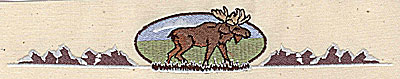 Embroidery Design: Forest scene with moose 7.44w X 1.31h