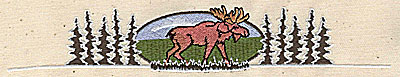 Embroidery Design: Forest scene with moose 7.44w X 1.31h`