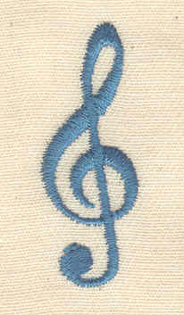 Embroidery Design: Treble Clef 0.50w X 1.44h