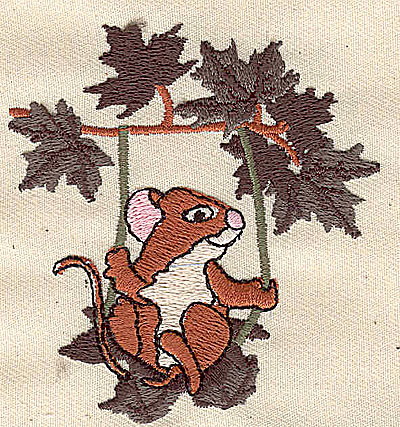 Embroidery Design: Mouse on a swing 2.75w X 2.94h