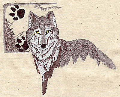 Embroidery Design: Wolf and wolf paws 4.75w X 3.94h