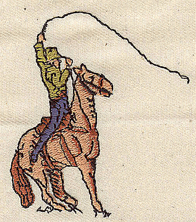 Embroidery Design: Cowboy on horse 2.25w X 2.63h
