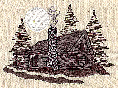 Embroidery Design: Cabin in the woods 2.94w X 2.12h