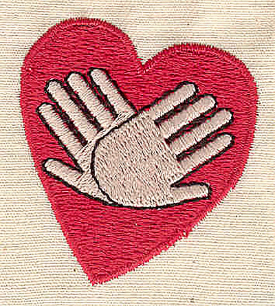 Embroidery Design: Heart and hands 1.56w X 1.69h