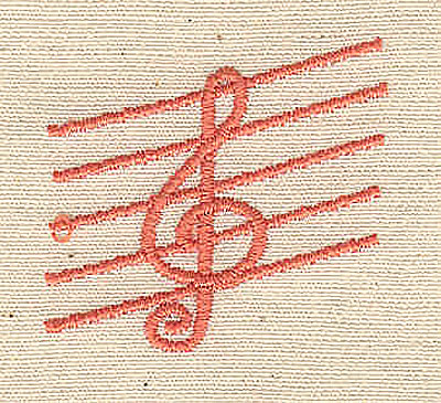 Embroidery Design: Treble Cleff music 1.31w X 1.25h