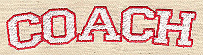 Embroidery Design: Coach text 3.31w X 0.88h