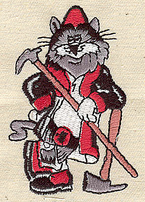 Embroidery Design: Firefighting cat 2.00w X 2.94h