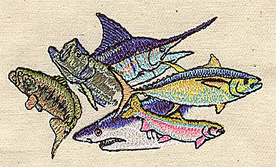 Embroidery Design: Assorted fish 3.25w X 1.94h
