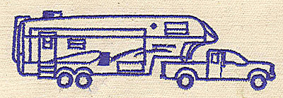 Embroidery Design: Truck with motorhome 4.00w X 1.48h