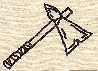 Embroidery Design: Tomahawk outline 3.44w X 2.63h