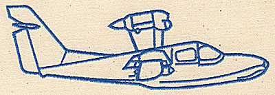 Embroidery Design: Airplane outline 6.31w X 2.06h