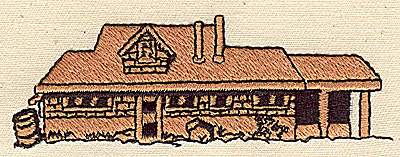 Embroidery Design: Cottage 3.69w X 1.25h
