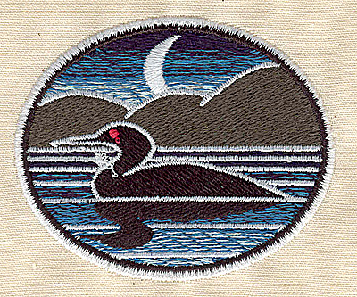 Embroidery Design: Loon with night scene 2.69w X 2.25h