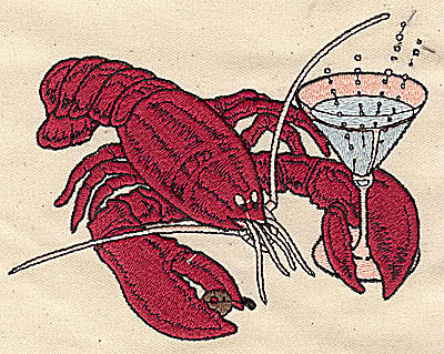 Embroidery Design: Lobster with martini glass 5.13w X 3.94h