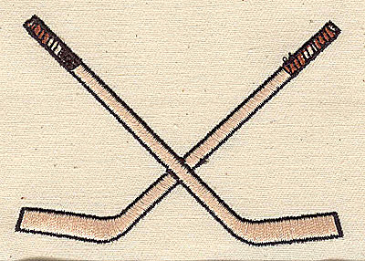 Embroidery Design: Crossed hockey sticks 3.38w X 2.38h