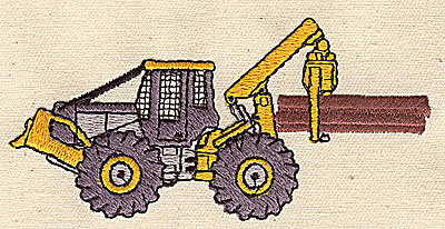 Embroidery Design: Tractor carrying logs 3.88w X 1.88h