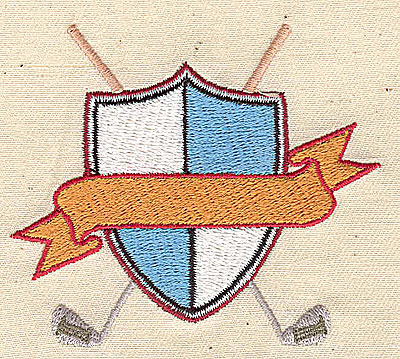 Embroidery Design: Shield with crossed golf clubs 3.00w X 2.63h