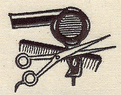 Embroidery Design: Hairdressers' tools2.44w X 1.94h