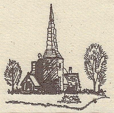 Embroidery Design: Church scenery 2.88w X 2.94h