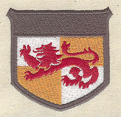 Embroidery Design: Shield with lion 2.44w X 2.38h