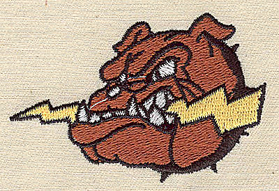 Embroidery Design: Bulldog head with lightning bolt 2.63w X 1.75h